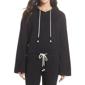 Make + Model Dreamy Kimono Hooded Black Sweatshirt